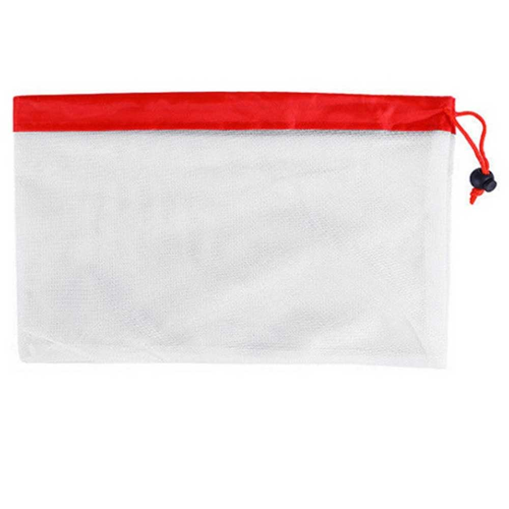 Zero Waste Reusable Draw String Polyester Mesh Storage Bag Kitchen Accessories Sunshine China Red S