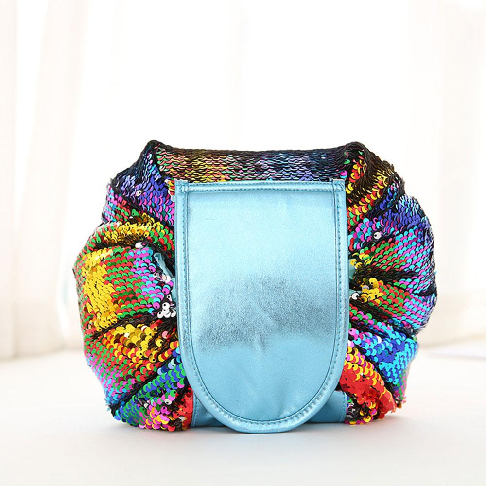 Sequinned Toiletry Bag with Drawstring Closure