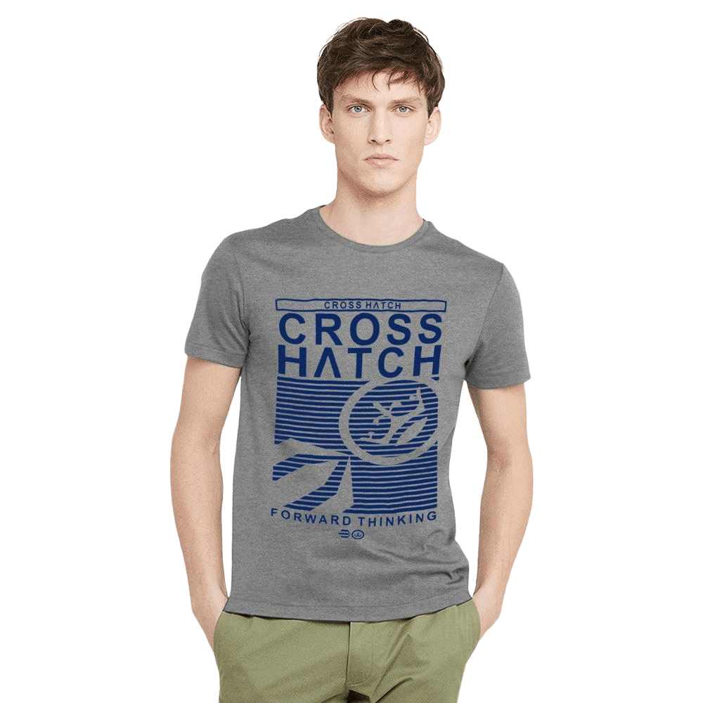 Cross Hatch Forward Thinking Short Sleeve Tee Shirt Men's Tee Shirt First Choice Dark Heather Grey Blue S