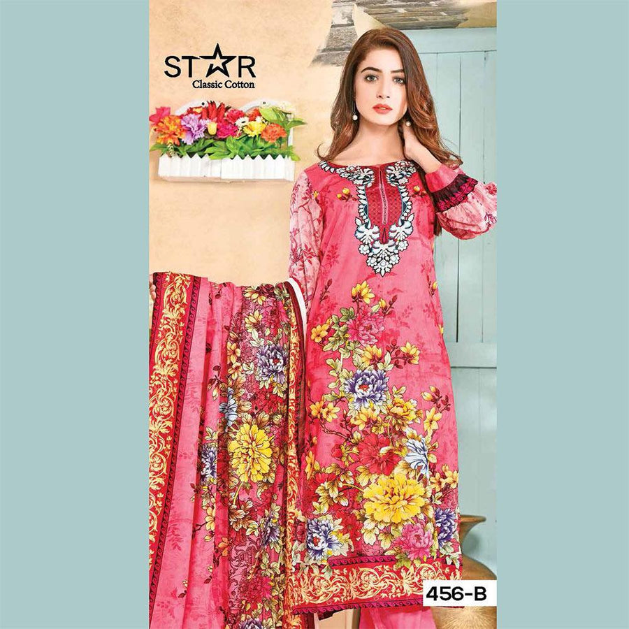 Star Collection Azumino Unstitched Suit With Cotton Net Dupatta
