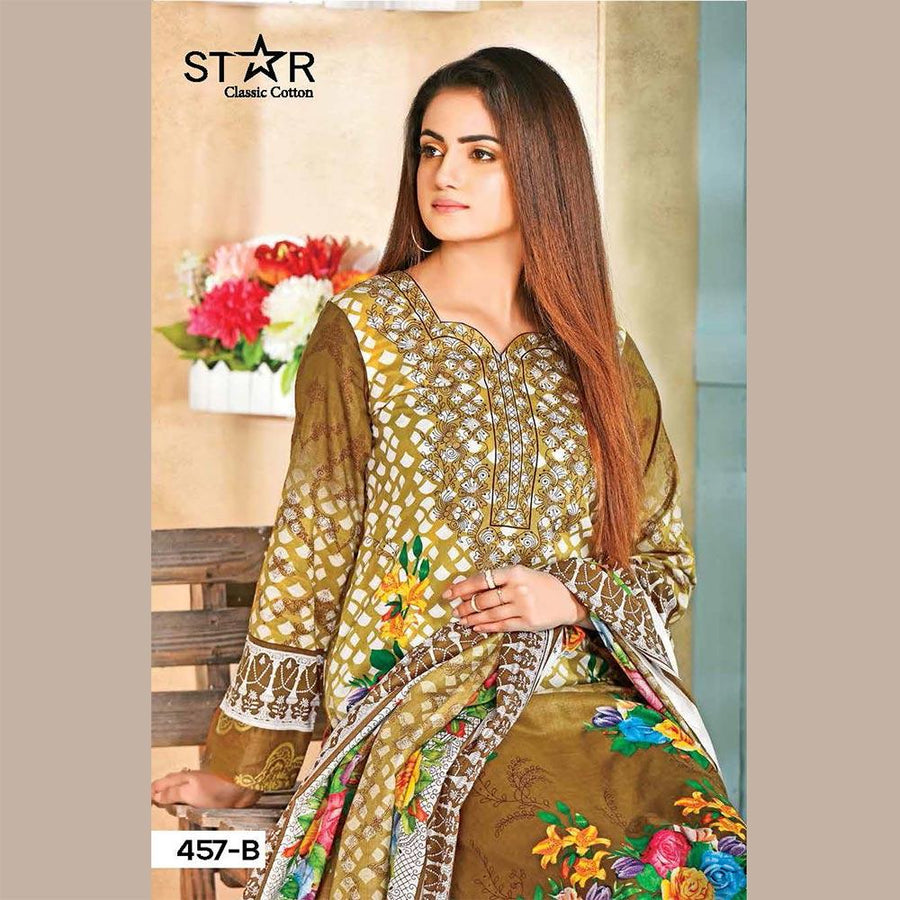 Star Collection Isahaya Unstitched Suit With Cotton Net Dupatta