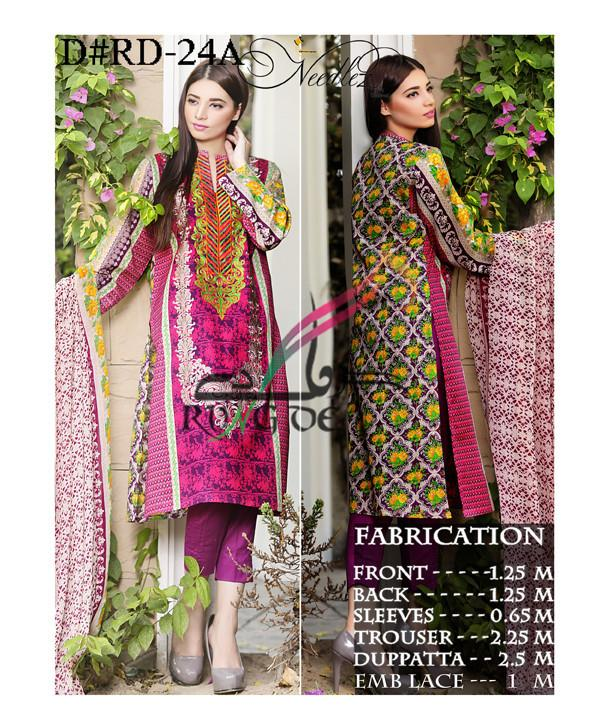 Needlez Unstitched Lawn Embroidery Suit - ExportLeftovers.com