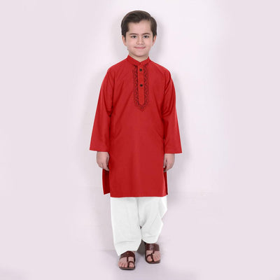 LBS Conquista Contrast Stitching Boy's Kurta Set Boy's kurta set First Choice Red Black 14