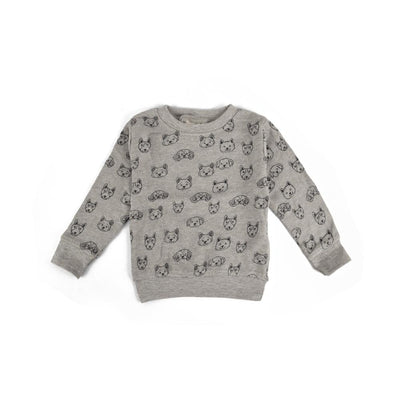 ZR Printed Bear Design Kids Terry Sweatshirt Boy's Sweat Shirt First Choice Heather Grey 3-6 Months