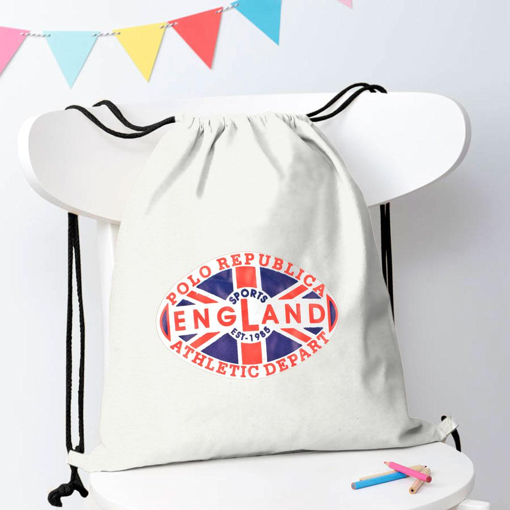 Polo Republica Sports England 1985 Drawstring Bag Drawstring Bag Polo Republica White