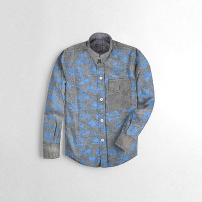 Polo Republica Boys Printed Chambray Casual Shirt Boy's Casual Shirt MAJ Graphite Blue 2 Years