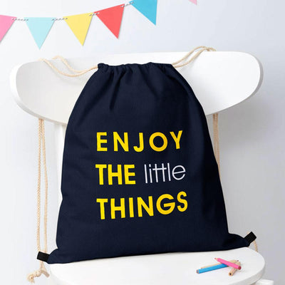 Polo Republica Enjoy Little Things Drawstring Bag Drawstring Bag Polo Republica Dark Navy Yellow