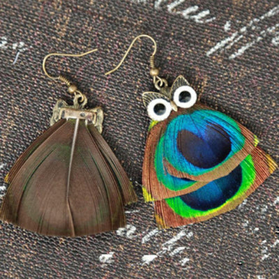 True Peacock Feather Pendant Owl Earrings Jewellery Sunshine China