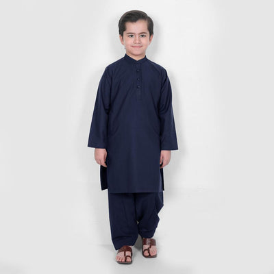 Velvour Boy's Alabaster Stitched Kurta Shalwar Boy's kurta set YTC Navy 1-2 Years
