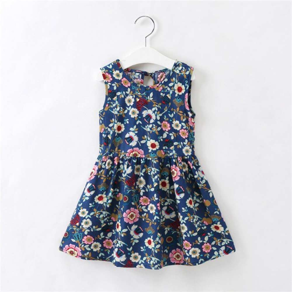 Girl's Floral Printed Crew Neck Sleeveless Frock Girl's Frock Sunshine China Navy 90