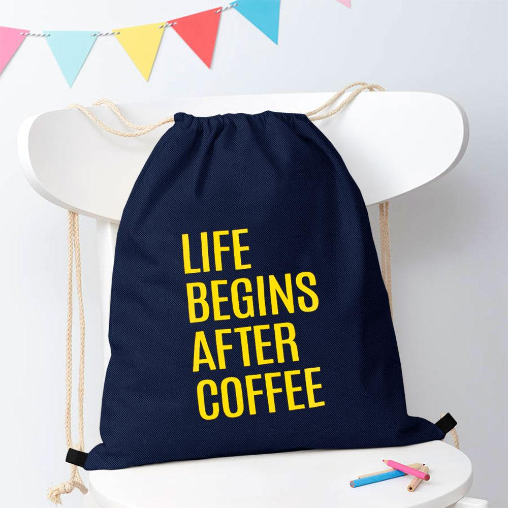 Polo Republica Life Begins After Coffee Drawstring Bag Drawstring Bag Polo Republica Navy Yellow
