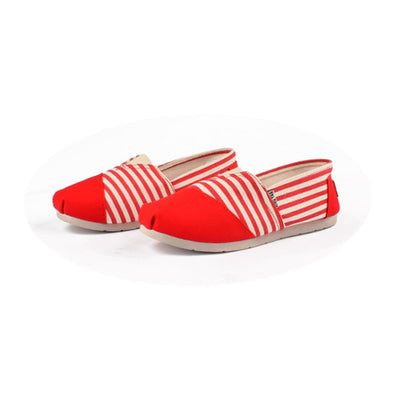 Xing Yan Stripes Design Women's Canvas Shoes Women's Shoes Sunshine China Red EUR 35