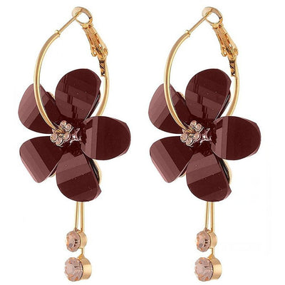 Long Paragraph Tassels Camellia Flower Crystal Earrings Jewellery Sunshine China Maroon
