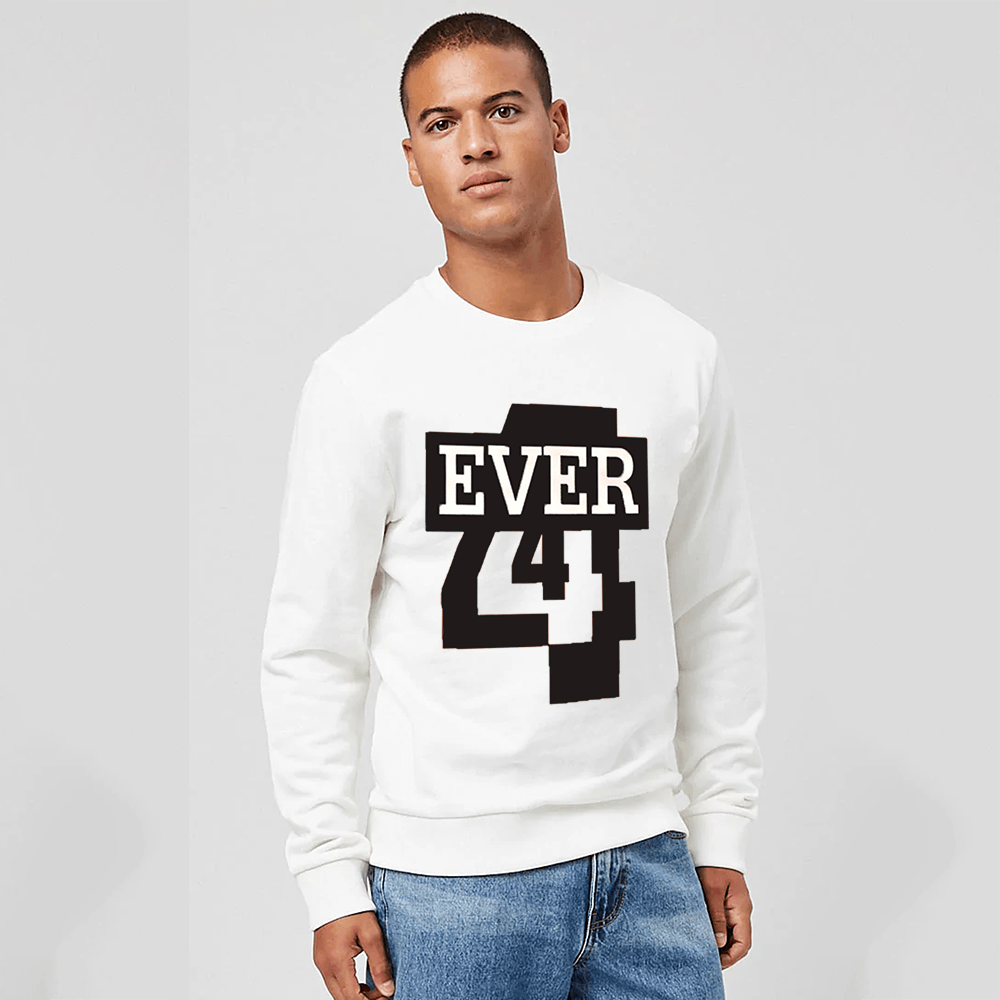 EGL Men's Forever Printed Fleece Sweat Shirt Men's Sweat Shirt Image White XS
