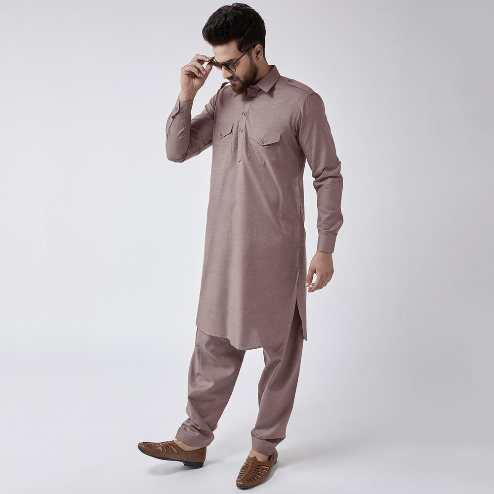Velvour Shahjahan American Cotton Unstitched Suit Men's Unstitched Suit YTC Mud