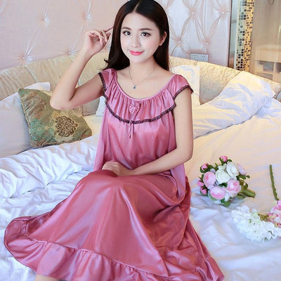 Ice Silk Nightdress Summer Strap Sexy Lace Nighty