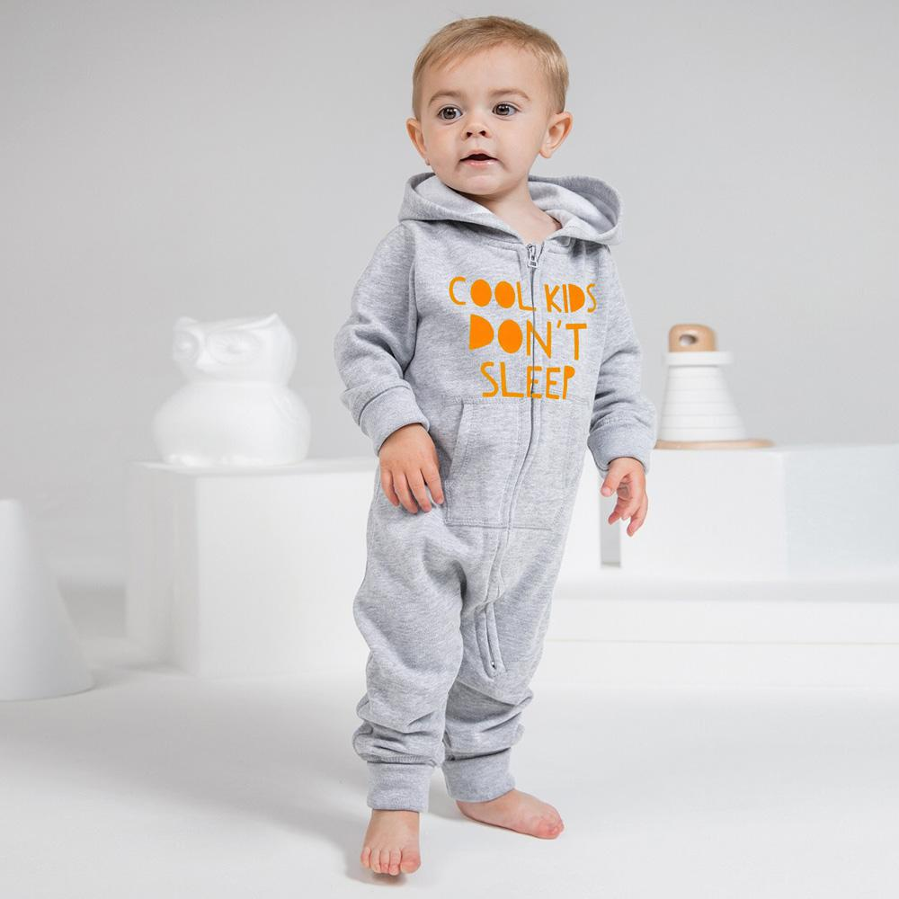 Cool Kids Don't Sleep Full Body Baby Romper Babywear Image Heather Grey Deep Yellow 6-12 Months