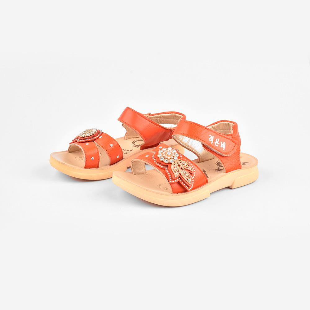 Yudebao Girls Stone Floral Design Faux Leather Sandals Girl's Shoes Sunshine China Orange EUR 27