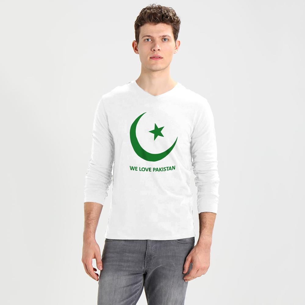 We Love Pakistan Long Sleeve V-Neck Tee Shirt Men's Tee Shirt Image White Green S