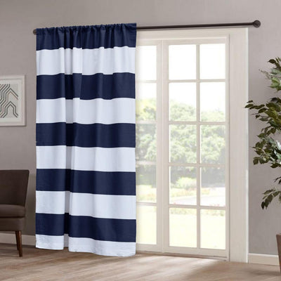 TMH Stripes Design One Piece Pocket Curtain Curtain MB Traders Navy W-50 x L-84 Inches