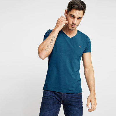 Tommy Hilfiger Men's Classic V-Neck Tee Shirt Men's Tee Shirt Fiza Powder Blue XS