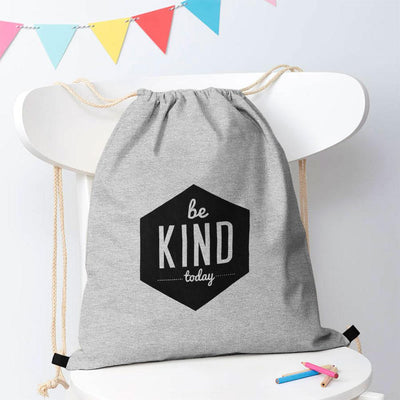 Be Kind Today Drawstring Bag Drawstring Bag Polo Republica Heather Grey Black