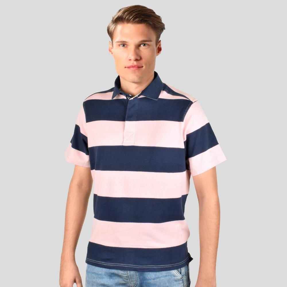 Cut Label Men's Striper Classy Polo Shirt Men's Polo Shirt First Choice Pink Navy S