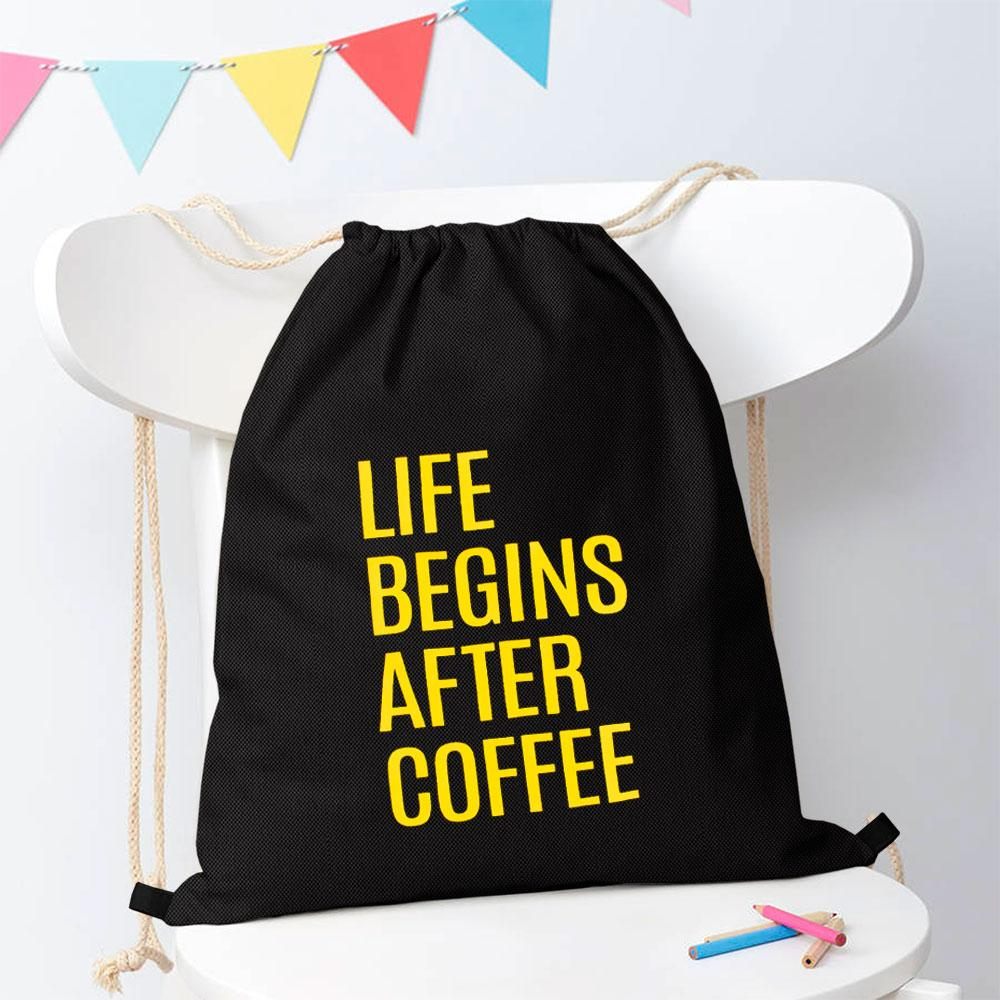 Polo Republica Life Begins After Coffee Drawstring Bag Drawstring Bag Polo Republica Black Yellow