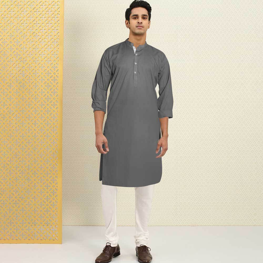 Polo Republica Men's Isfahan Stitched Kurta Men's Kurta RDS Graphite S