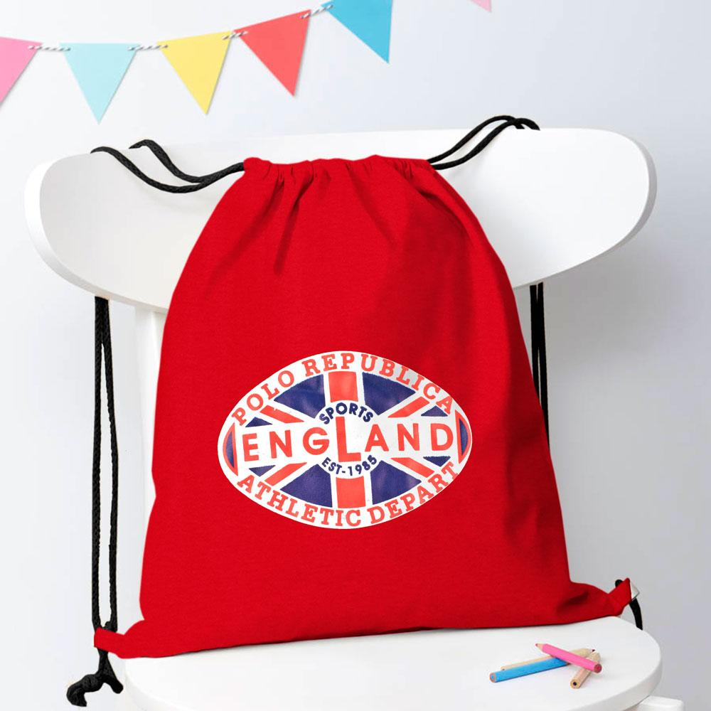 Polo Republica Sports England 1985 Drawstring Bag Drawstring Bag Polo Republica Red