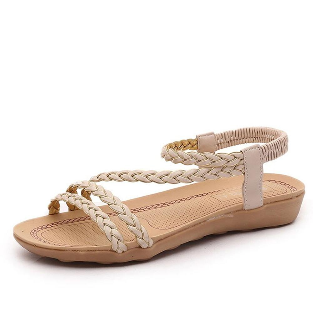BJL Women's Classic Flat Soft Bottom Beach Sandals Women's Shoes Sunshine China Off White EUR 35