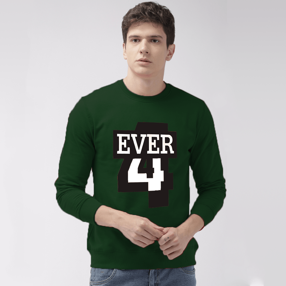 EGL Men's Forever Printed Fleece Sweat Shirt Men's Sweat Shirt Image Bottle Green XS