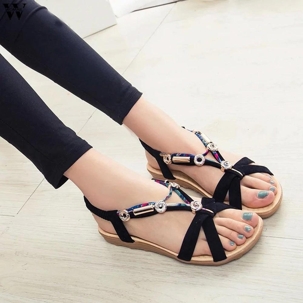 Women's Summer Beach Bohemian Beaded Flat Sandals Women's Shoes Sunshine China
