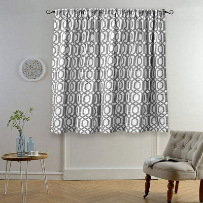 MB Ruijin Printed One Piece Pocket/ Tab Top Curtain Curtain MB Traders Black W-50 x L-110 Inches