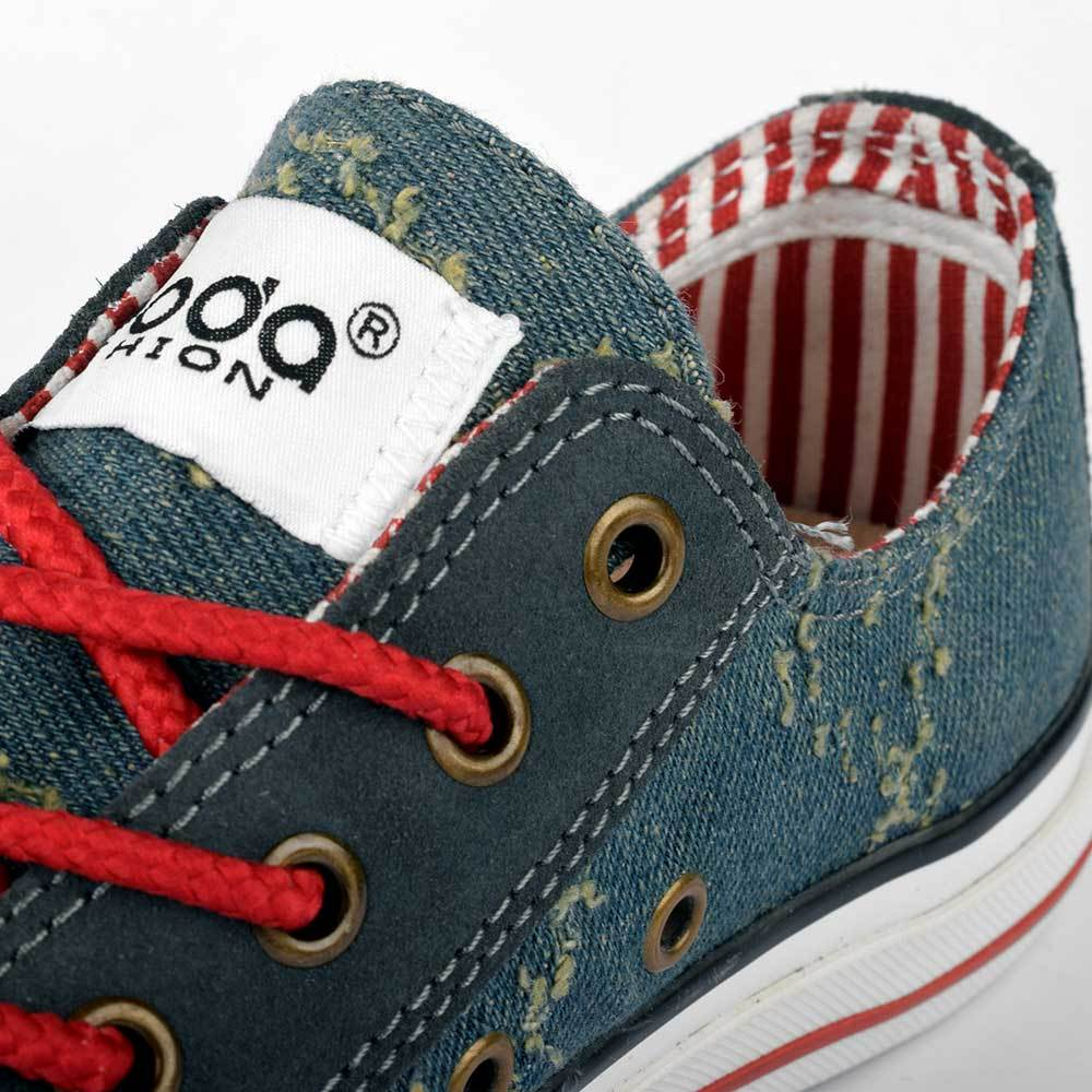 1040155b605 Baoda Women Fashion Distressed Denim Style Lace Up Canvas Shoes Women's  Shoes AGZ