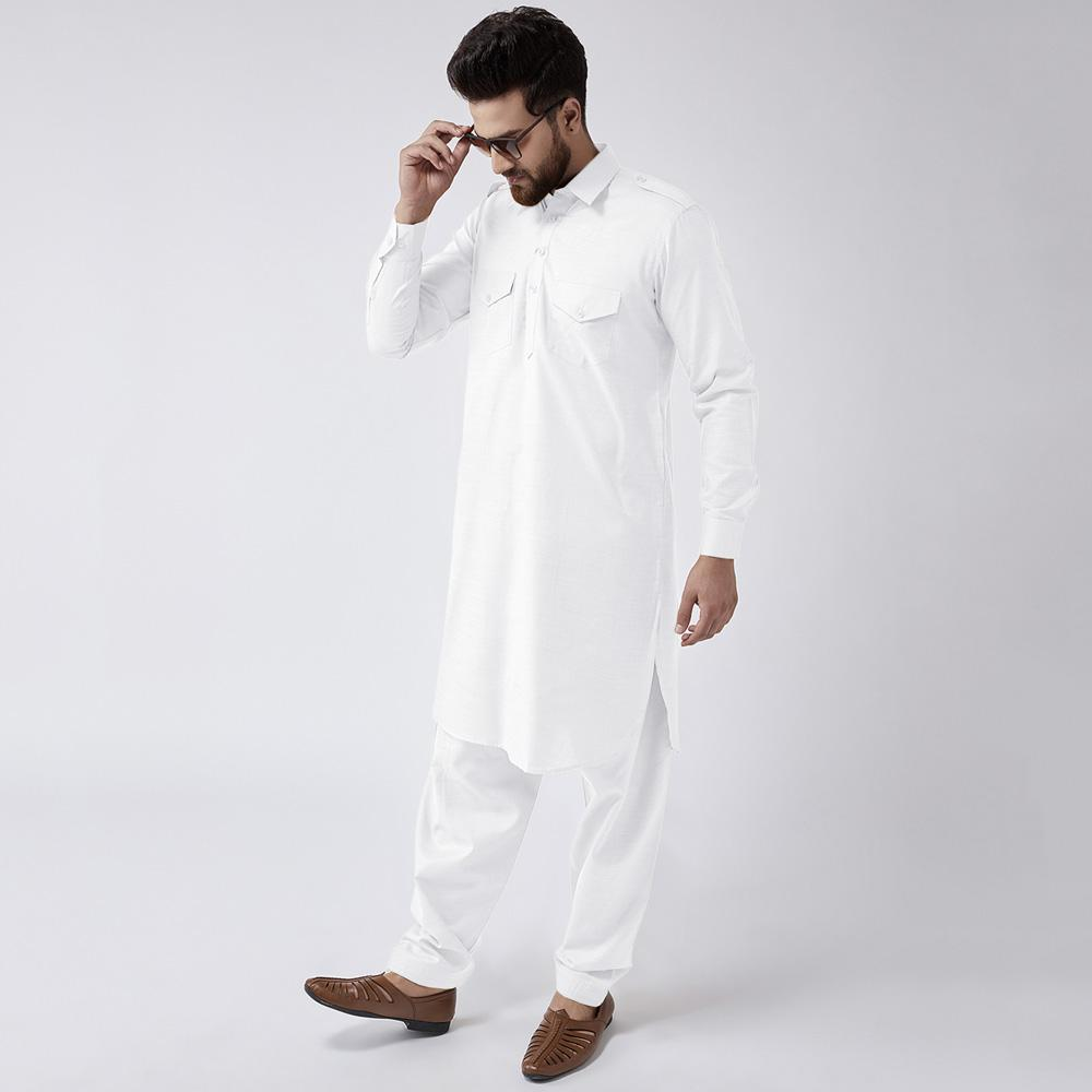 Velvour Shahjahan American Cotton Unstitched Suit Men's Unstitched Suit YTC White