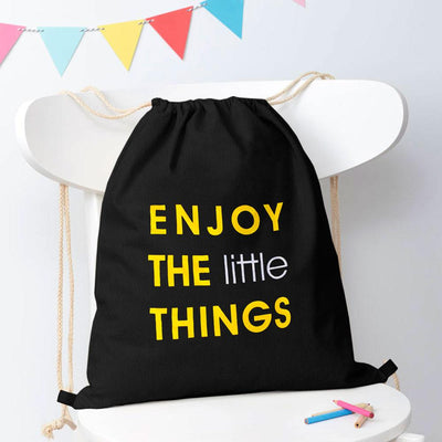 Polo Republica Enjoy Little Things Drawstring Bag Drawstring Bag Polo Republica Black Yellow