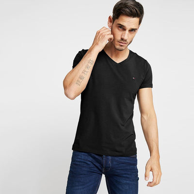 TMH Men's Classic V-Neck Tee Shirt Men's Tee Shirt Fiza Black XS