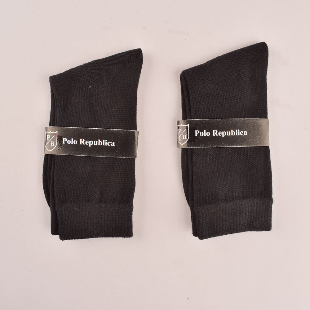 Polo Republica Kid's Enviable Pack of Two Crew Socks Socks RKI Black EUR 26-28