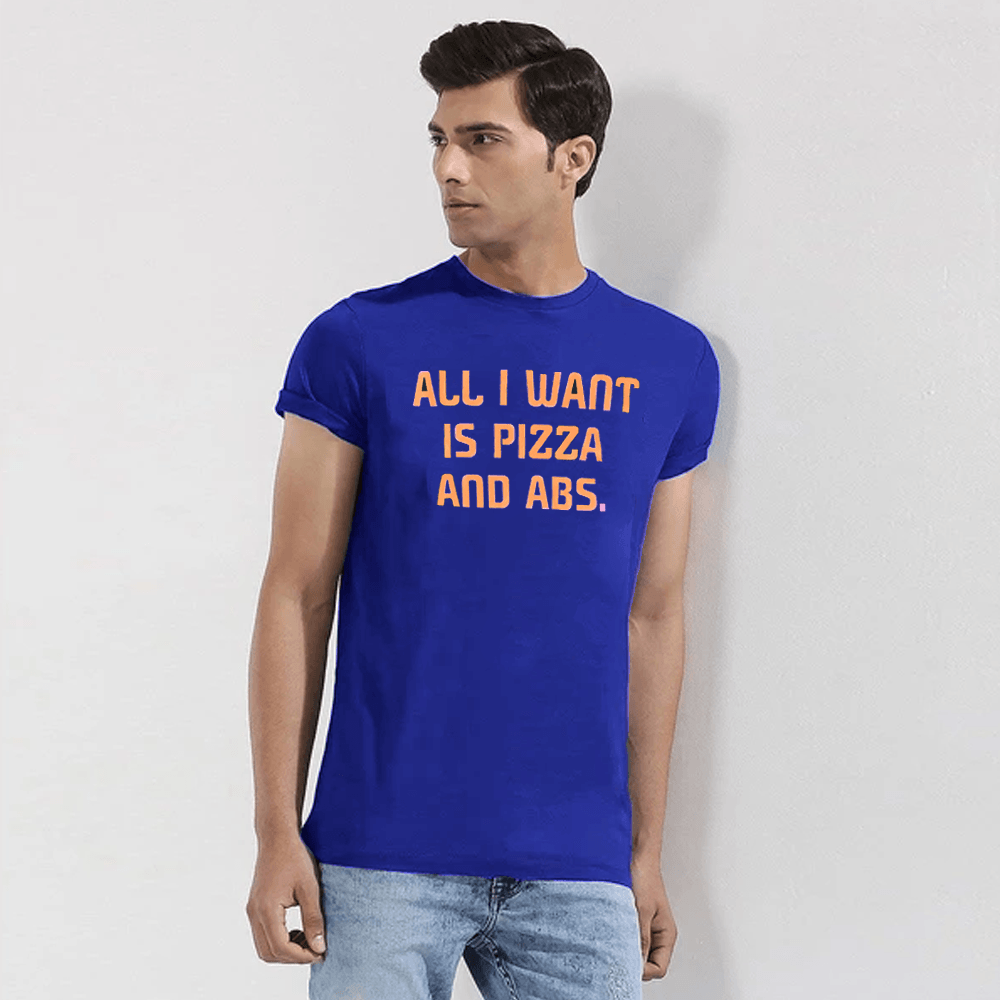 LE All I Want Pizza And ABS Tee Shirt Men's Tee Shirt Image Blue S