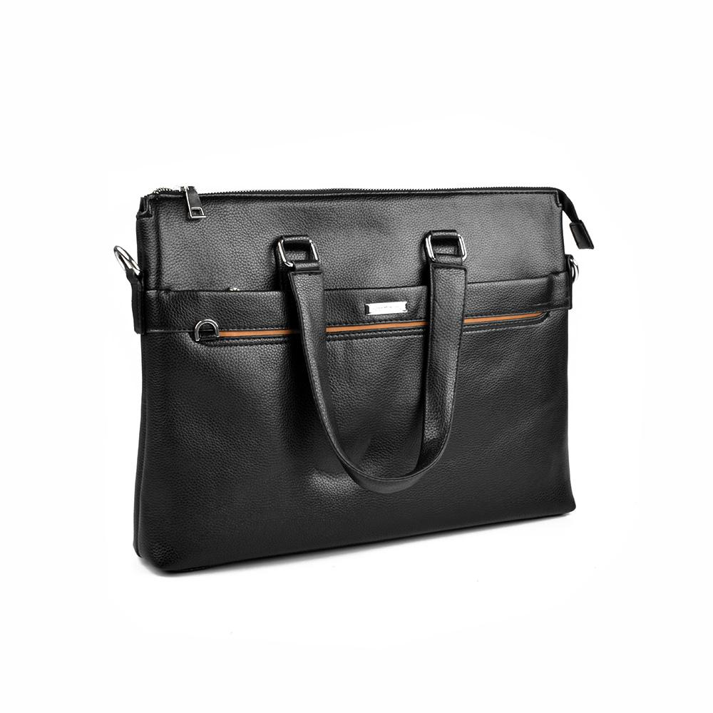 Shiothdet PU Leather Zipper Briefcase Laptop Bag Sunshine China Black