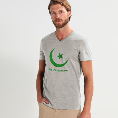 LE We Love Pakistan Tee Shirt Men's Tee Shirt Image Heather Grey Green S