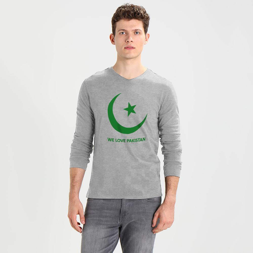 We Love Pakistan Long Sleeve V-Neck Tee Shirt Men's Tee Shirt Image Heather Grey Green S