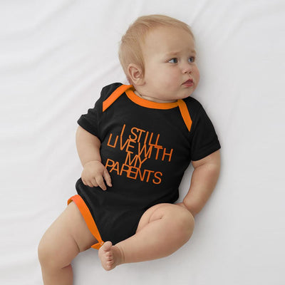 Polo Republica Still Live With My Parents Baby Romper Babywear Polo Republica Black Orange 0-3 Months
