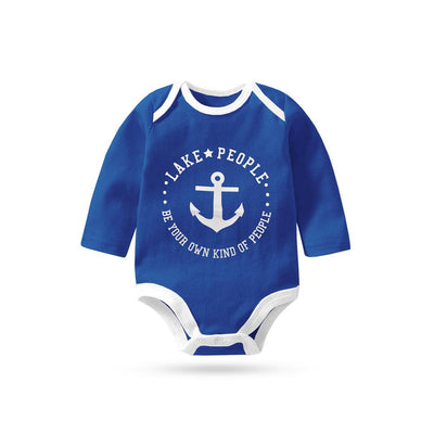 Polo Republica Lake People Long Sleeve Pique Baby Romper Babywear Polo Republica Royal Blue White 0-3 Months