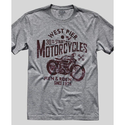 IZOD West Pier Motorcycles EST 1978 Men's Crew Neck Tee Shirt Men's Tee Shirt Fiza Heather Grey XS