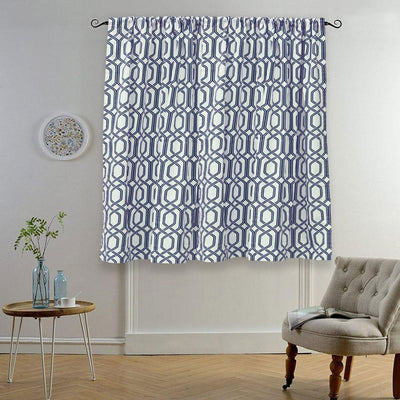 MB Ruijin Printed One Piece Pocket/ Tab Top Curtain Curtain MB Traders Navy W-50 x L-110 Inches