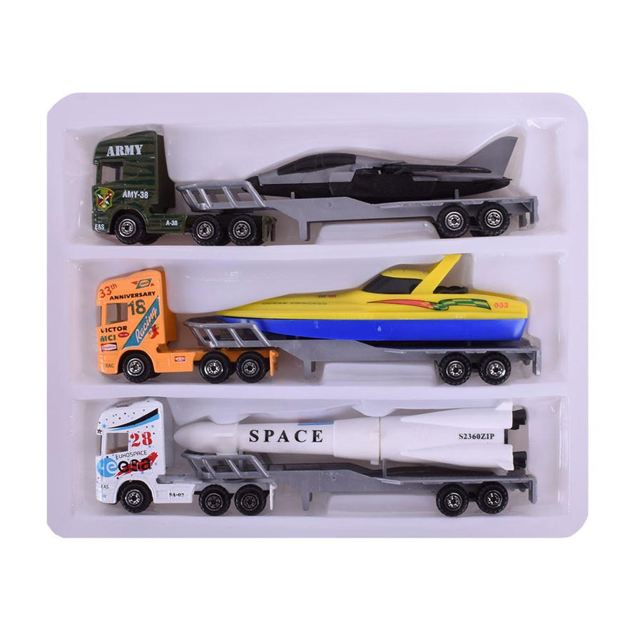 Pack of Three Street Machine Tractor Trailer Toy Set - ExportLeftovers.com