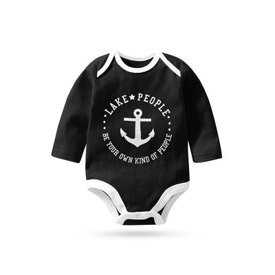 Polo Republica Lake People Long Sleeve Pique Baby Romper Babywear Polo Republica Black White 0-3 Months