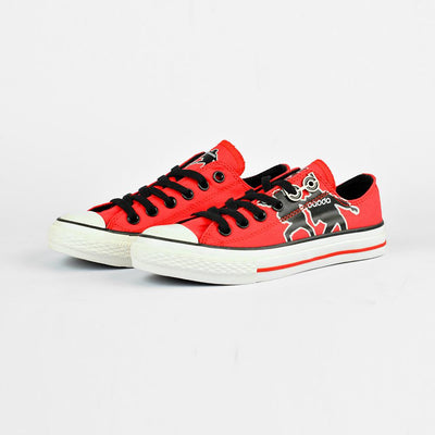 Baoda Women Fashion Wuzhou Printed Lace Up Canvas Shoes Women's Shoes AGZ Red EUR 35